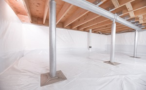 Crawl space structural support jacks installed in London