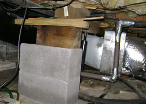 a poorly designed crawl space support system installed in a Danville home