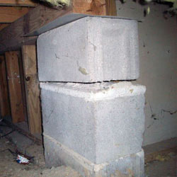 Collapsing crawl space support pillars Bardstown