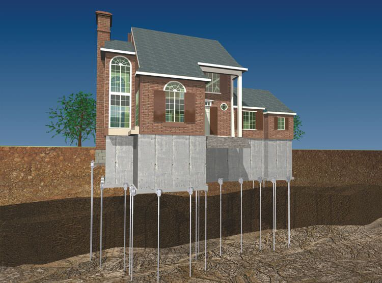 Foundation push piers in kentucky louisville lexington for How to build a post and pier foundation