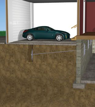 Graphic depiction of a street creep repair in a Alexandria home