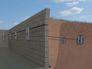 A graphic illustration of a foundation wall system installed in Mount Washington