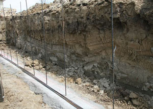 Soil layers exposed while excavating to construct a new foundation in Independence