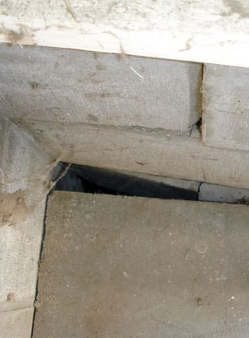 inward rotation of a foundation wall damaged by street creep in a garage in Campbellsville