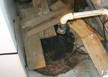 An ugly, clogged sump pump system in Florence, Kentucky
