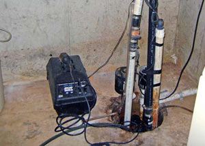 Pedestal sump pump system installed in a home in Danville