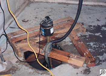 A Danville sump pump system that failed and lead to a basement flood.