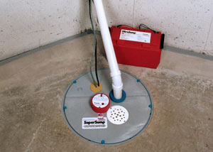 A sump pump system with a battery backup system installed in Middlesboro