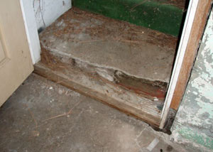 A flooded basement in Somerset where water entered through the hatchway door