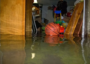 A flooded basement bedroom in Campbellsville