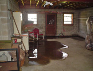 a flooded basement floor in a Alexandria home