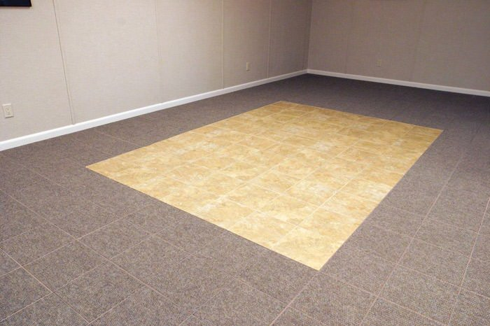Ordinaire ... Tiled And Carpeted Basement Flooring Installed In A Radcliff Home ...