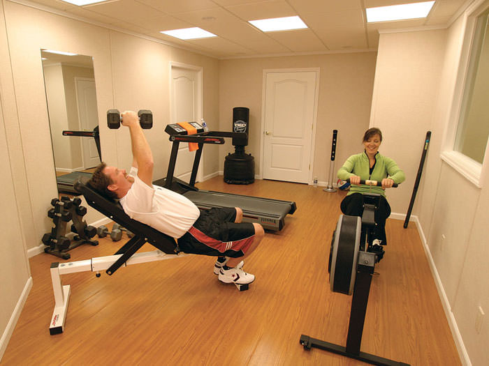 ... A Basement Gym And Workout Room With A Wood Laminate Flooring,  Installed In Florence, ...
