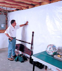 Plastic 20-mil vapor barrier for dirt basements, Shelbyville, Kentucky installation