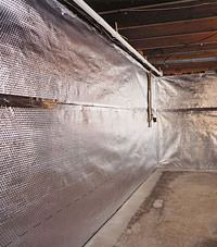 Radiant heat barrier and vapor barrier for finished basement walls in Shelbyville, Kentucky